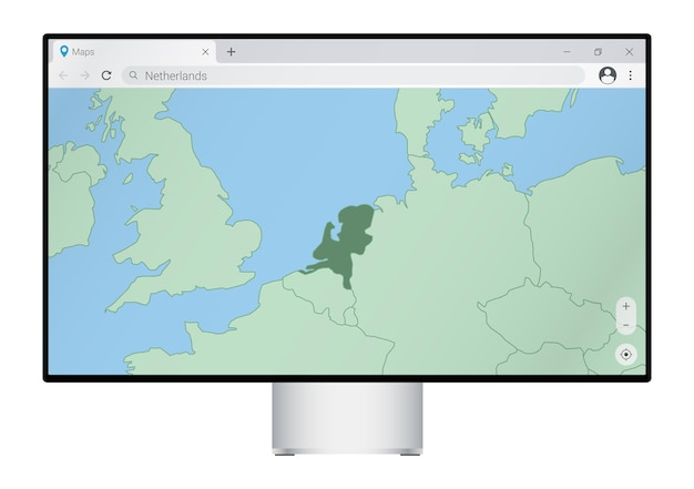 Computermonitor met kaart van nederland in browser, zoek naar het land van nederland op het webkaartprogramma.