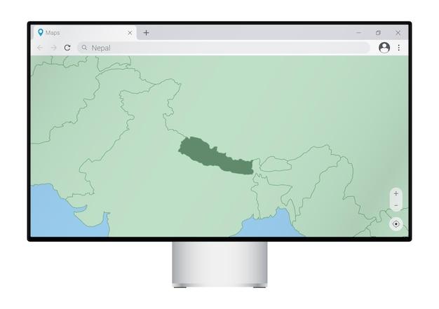 Computermonitor met kaart van nepal in browser, zoek naar het land nepal op het webkaartprogramma.