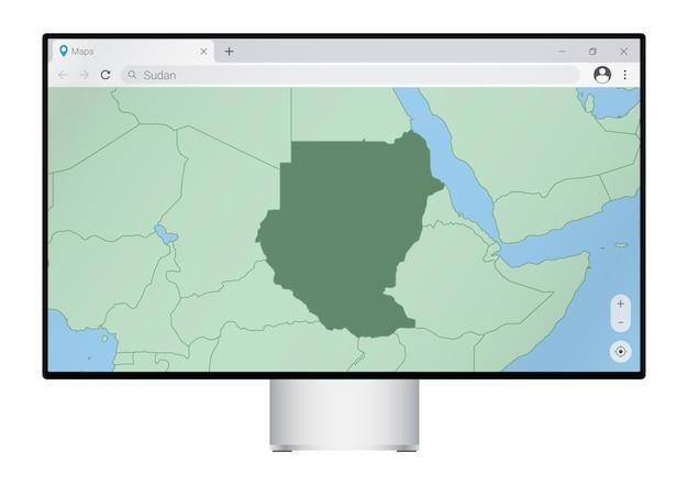 Computermonitor met kaart van soedan in browser, zoek naar het land van soedan op het webkaartprogramma.