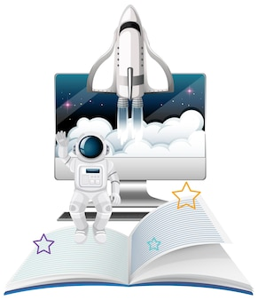 Computermonitor met ruimteschip en astronaut