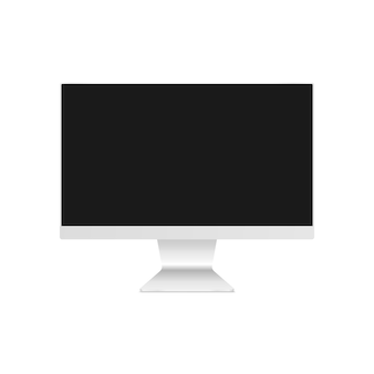 Computermonitor mockup. desktopcomputer met een leeg scherm. computermonitor op witte achtergrond wordt geïsoleerd die.
