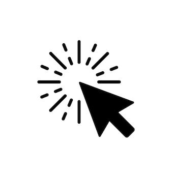 Computermuis klik cursor zwarte pijlpictogram. vector illustratie.