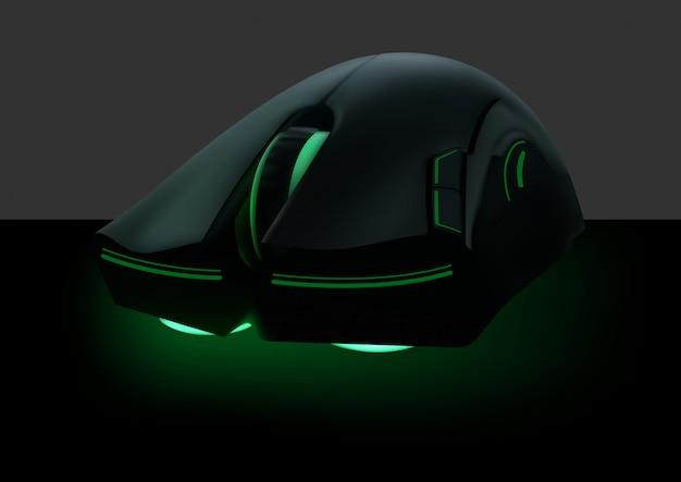Computermuis met groen neon