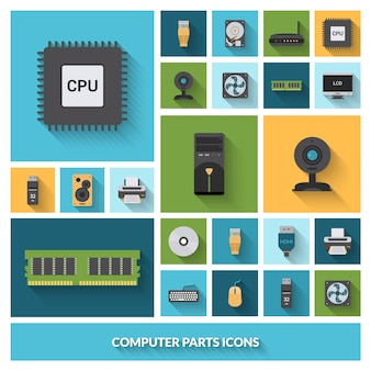 Computeronderdelen decoratieve pictogrammen instellen