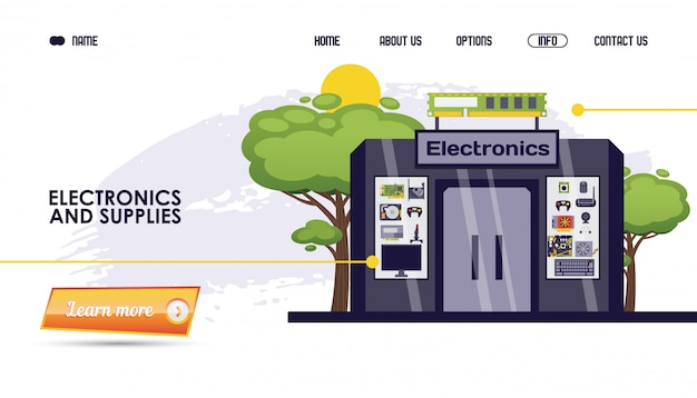 Computeronderdelen, elektronica en benodigdheden winkel illustratie. website opslaan, online cataloguspagina gadgetproduct, bouwen.