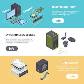 Computeronderdelen en gadgets isometrische horizontale banner.