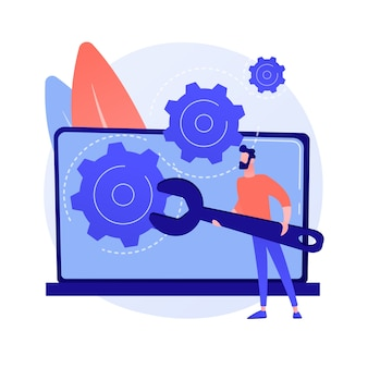 Computerproblemen oplossen abstracte concept illustratie