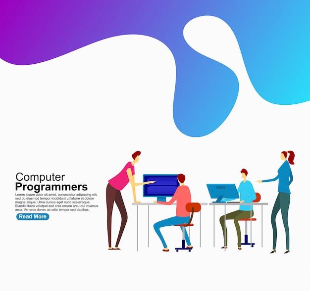 Computerprogrammeurs voor website. sjabloon