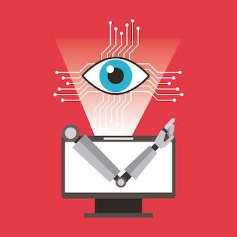 Computerrobotarm en oogtechnologie
