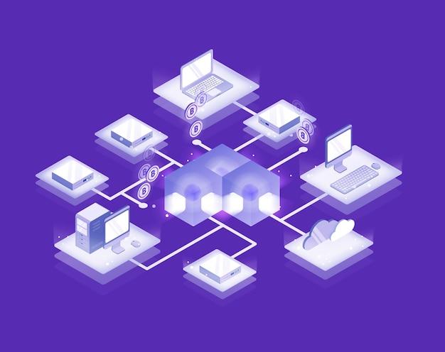 Computers en servers verbonden in blockchain-formatie, bitcoin-netwerk Premium Vector