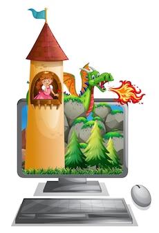 Computerscherm met prinses in de toren