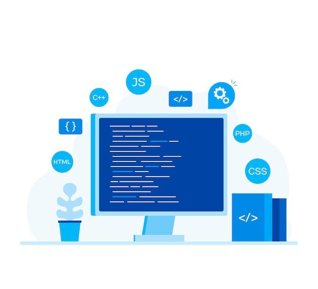 Computerscherm met programmacode.