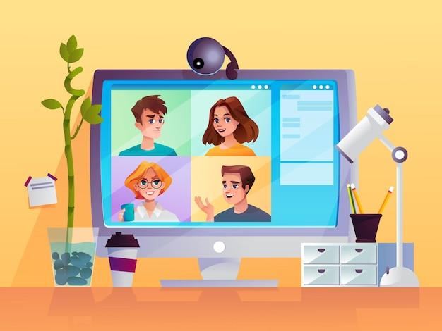 Computerscherm met webcamera en video-oproeptechnologie voor cartoonmensen