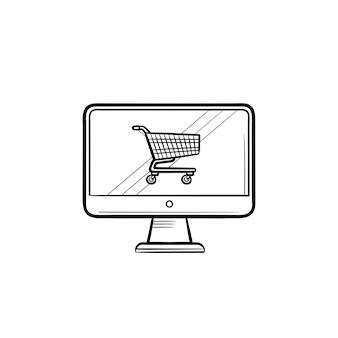 Computerscherm met winkelwagen hand getrokken schets doodle pictogram. kopen, online winkelen, e-commerce concept