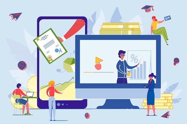 Computerschermen met online education group.