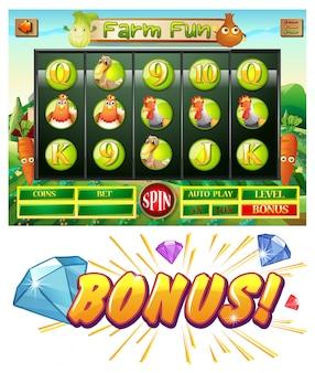 Computerspel sjabloon met boerderij thema