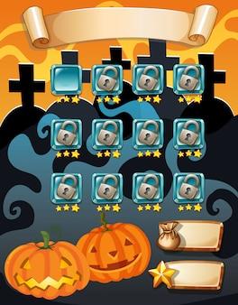 Computerspel sjabloon met halloween-thema
