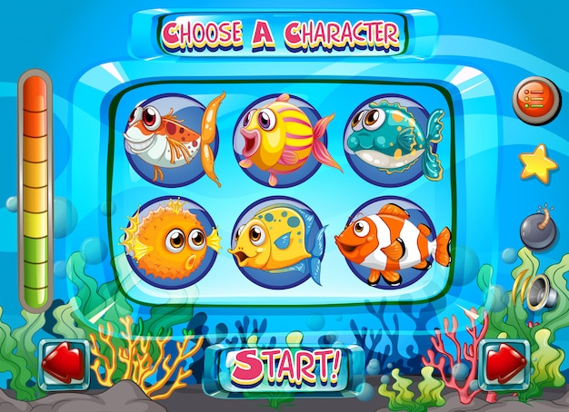 Computerspel sjabloon met vis als tekens