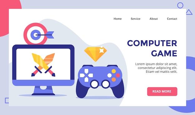 Computerspel zwaard op display monitor campagne voor web website homepage startpagina sjabloon banner flyer met moderne vlakke stijl