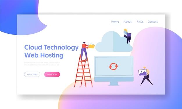 Computersynchronisatie met cloudtechnologie hosting-websitesjabloon voor webpagina.