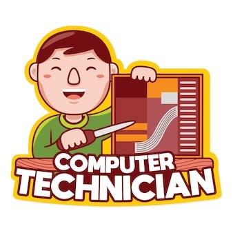 Computertechnicus beroep mascotte logo vector in cartoon-stijl