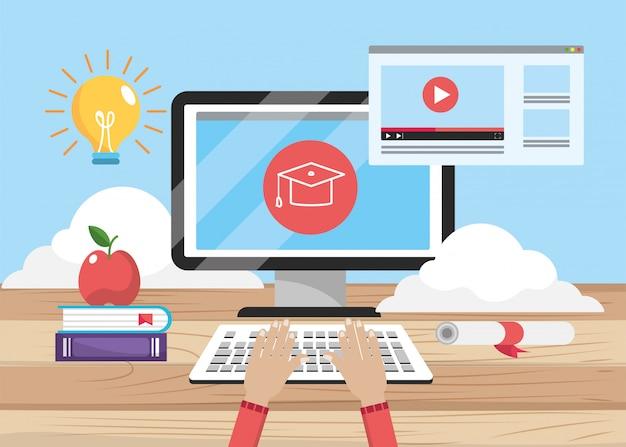 Computertechnologie en onderwijswebsite met boeken