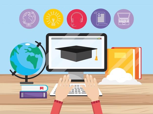 Computertechnologie met onderwijsboeken en handen