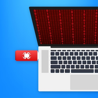 Computervirus op usb-flashkaart. virus bescherming. vector voorraad illustratie.
