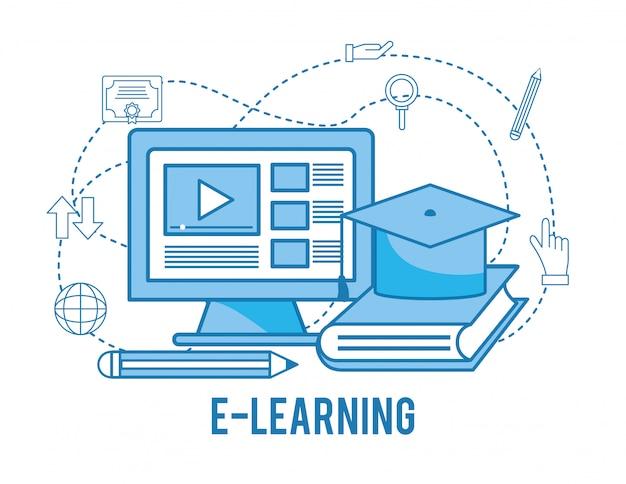 Computerwebsite video met boek om te studeren