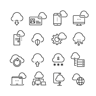 Computerwolktechnologie, gegevensbeveiliging, pictogrammen voor toegang tot perfectie dunne lijn