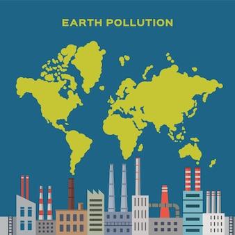 Concept aardeverontreiniging door fabrieken