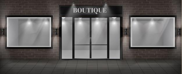 Concept achtergrond, boutique winkel gevel met uithangbord.