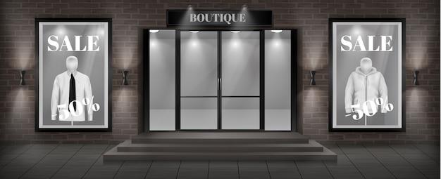 Concept achtergrond, boutique winkel gevel met uithangbord