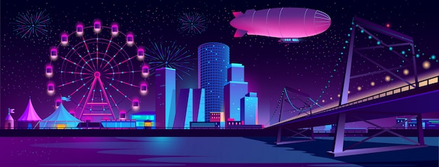 Concept achtergrond met nacht stad