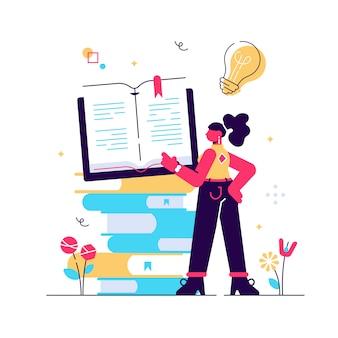 Concept afstandsonderwijs, onderwijs, bedrijfsdoel, idee, online cursussen, onderwijs, online boeken voor webpagina's, banner, presentatie, sociale media. illustratie, bibliotheek.