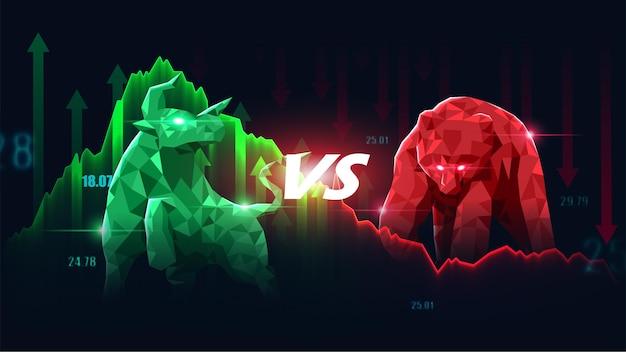 Concept art van bullish en bearish aandelen