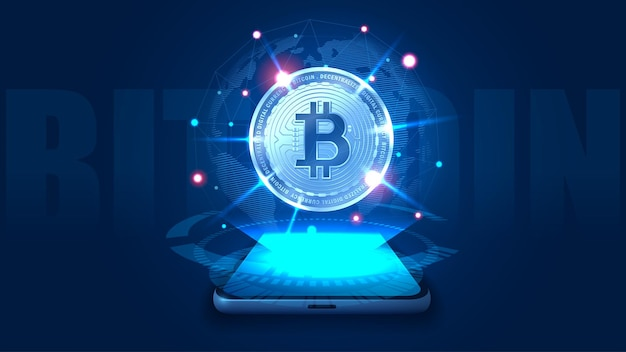 Concept art van een stapel bitcoin. vector illustrator