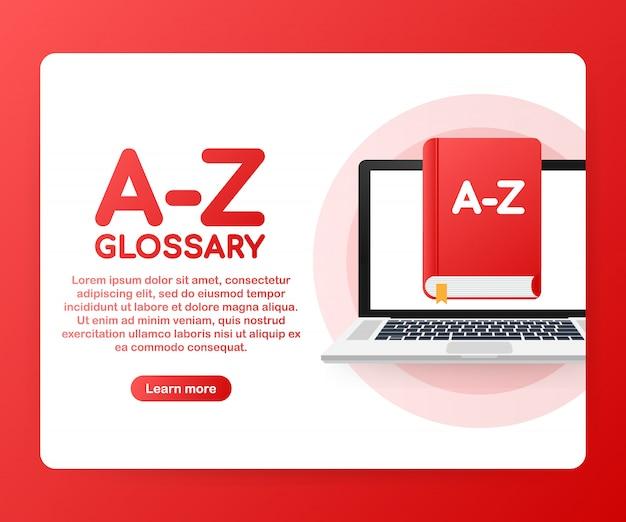 Concept az woordenlijst boek voor webpagina, banner, sociale media.