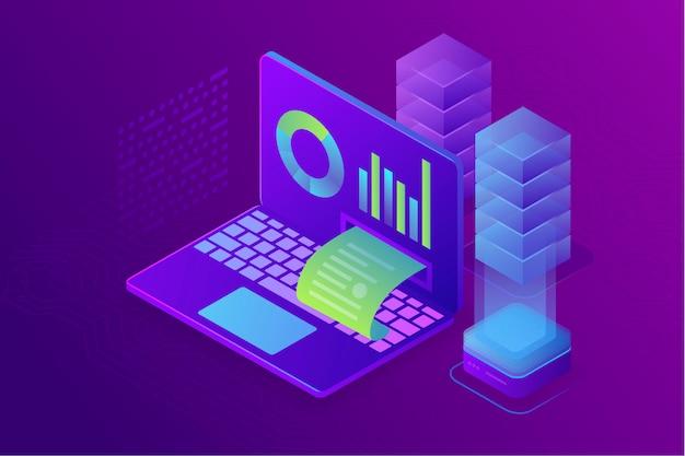 Concept bedrijfsanalyse, strategie van financiële gegevensgrafieken of diagrammen. 3d isometrisch