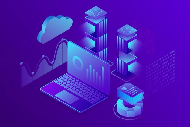Concept bedrijfsanalyse, strategie van financiële gegevensgrafieken of diagrammen. isometrisch