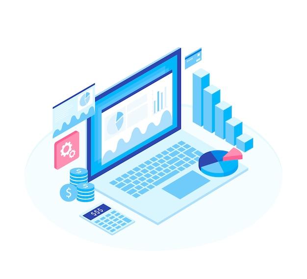 Concept bedrijfsstrategie. analysegegevens en investeringen.