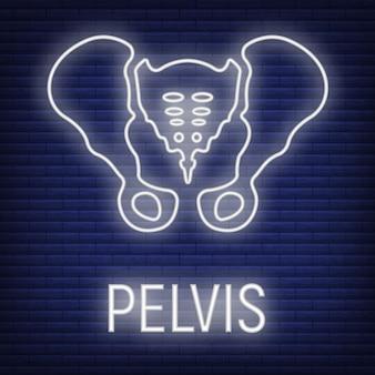Concept bekkenbot pictogram gloed neon stijl, skelet deel organisme, röntgen menselijk lichaamsbeeld geïsoleerd op zwarte, platte vectorillustratie. silhouet zwarte biologische wetenschap.
