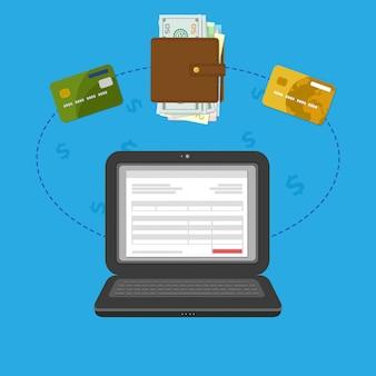 Concept betaalrekening online rekening via computer. online betaling. laptop met chequefactuur op het scherm. contant of bankkaart overdracht. portemonnee met geld en credit bankkaarten.
