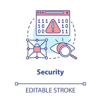 Concept beveiligingsconcept. gegevenscodering idee dunne lijn illustratie