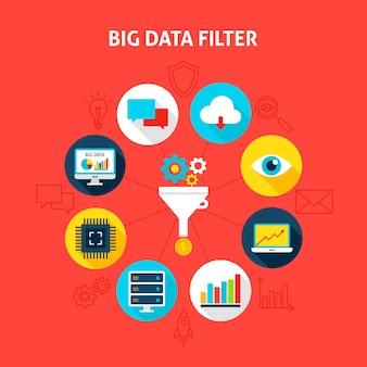Concept big data-filter. vectorillustratie van business infographics cirkel met plat pictogrammen.