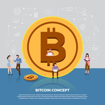 Concept bitcoin cryptocurrency. groep mensen ontwikkeling pictogram bitcoin en graph-grafiek. illustreren.