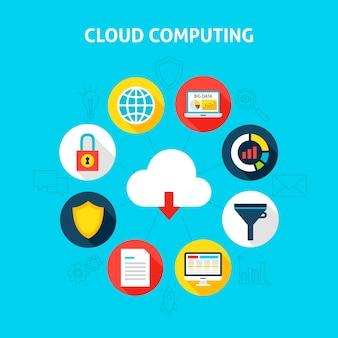 Concept cloud computing. vectorillustratie van big data infographics cirkel met plat pictogrammen.