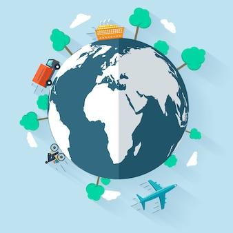 Concept dat goederen wereldwijd levert.