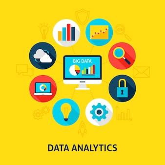Concept database-analyse. vectorillustratie van big data infographics cirkel met plat pictogrammen.