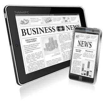 Concept - digitaal nieuws. tablet-pc en smartphone met zakelijk nieuws
